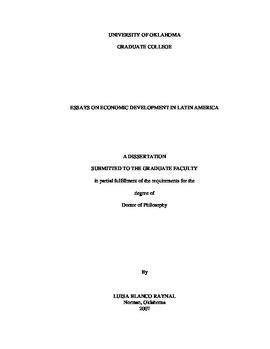 Essays On Economic Development In Latin America