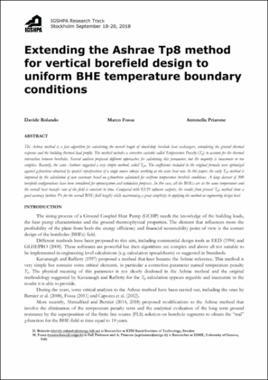 Extending the Ashrae Tp8 method for vertical borefield design to