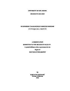 De Senghor A Mabanckou Parricide Rhizome Et Ethique L Identite La Negritude Dissertation