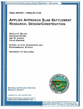 Applied Approach Slab Settlement Research Design Construction Fhwa Ok 13 09 2227